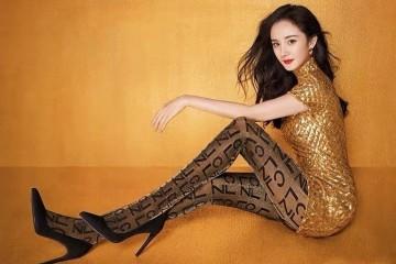 杨幂身段太优胜了金色紧身裙短到大腿配丝袜高跟鞋性感诱人
